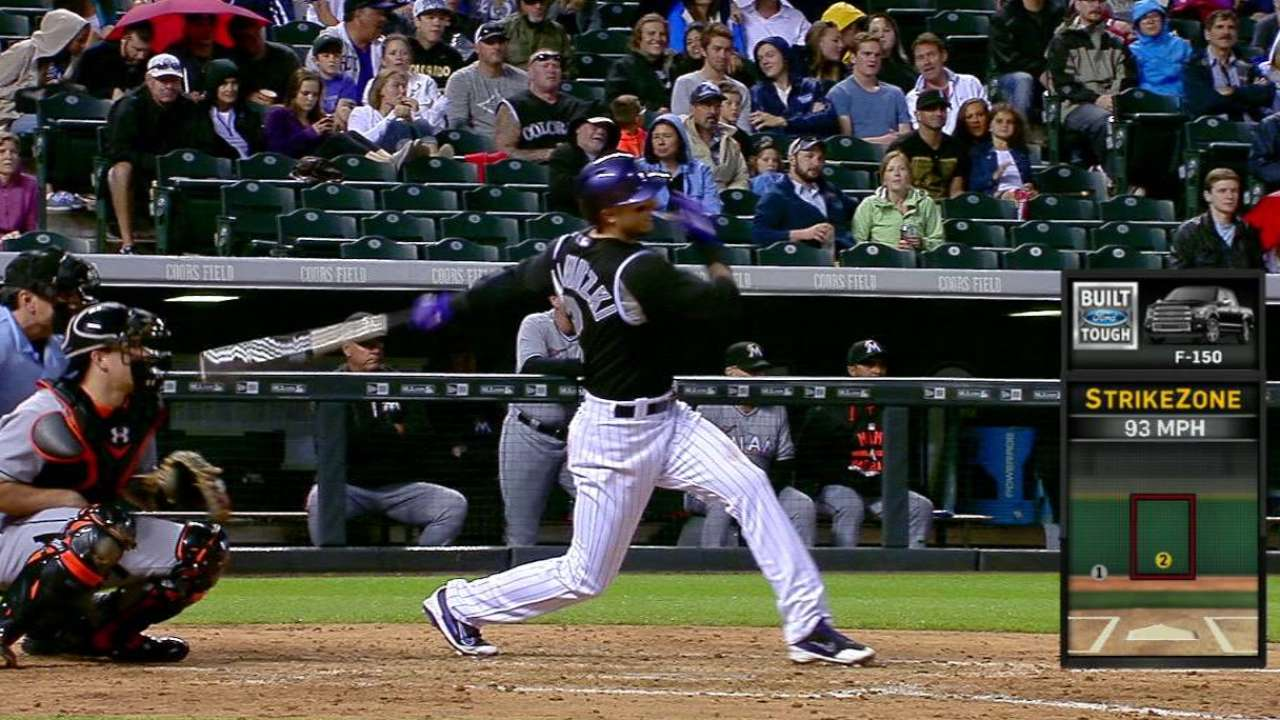 Rockies' offense all wet at rainy Coors