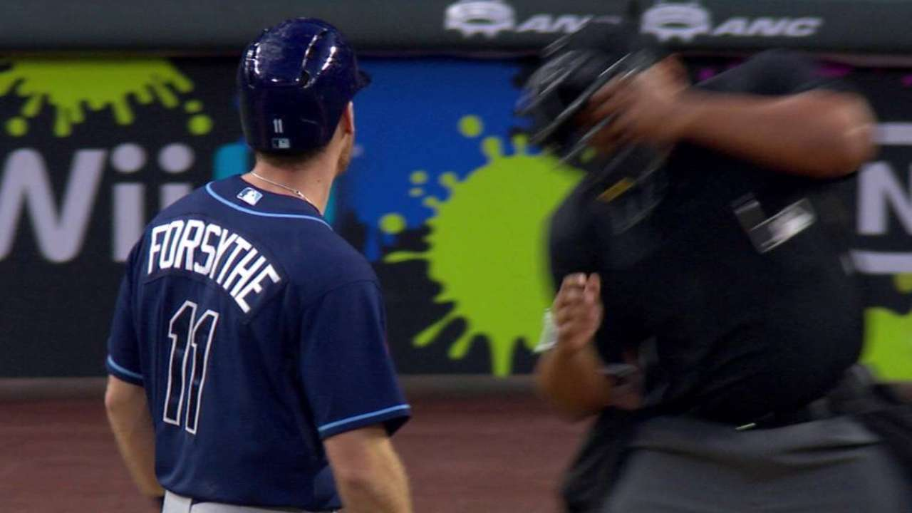 Forsythe's bat nearly hits ump