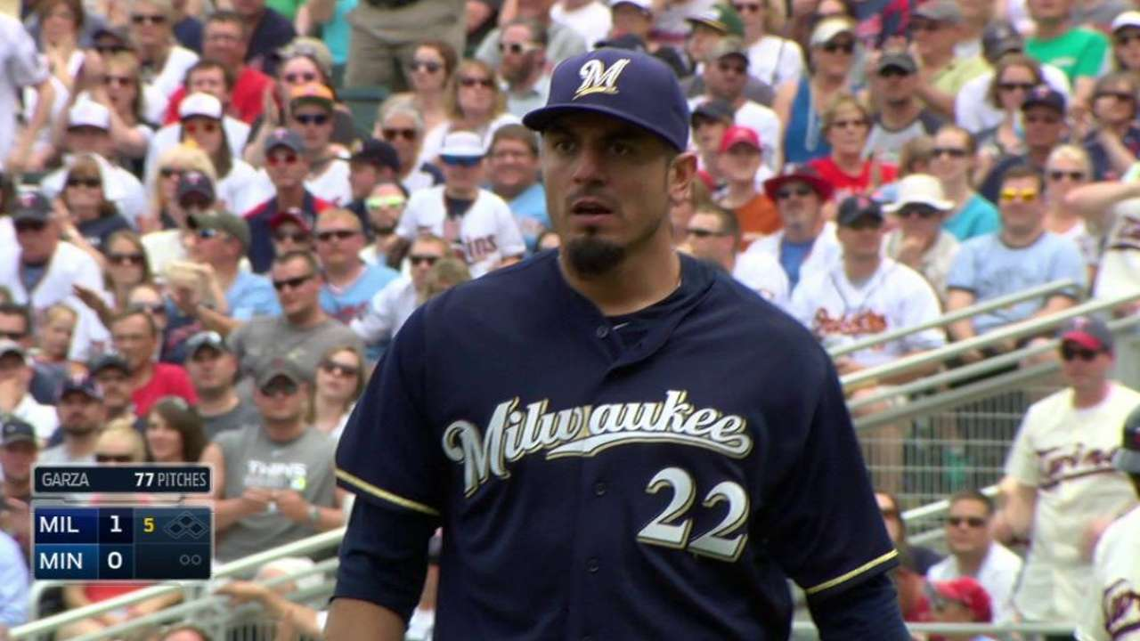 Garza works out of jam