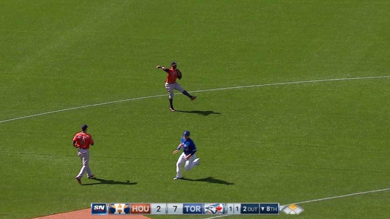 Villar's off-balance throw