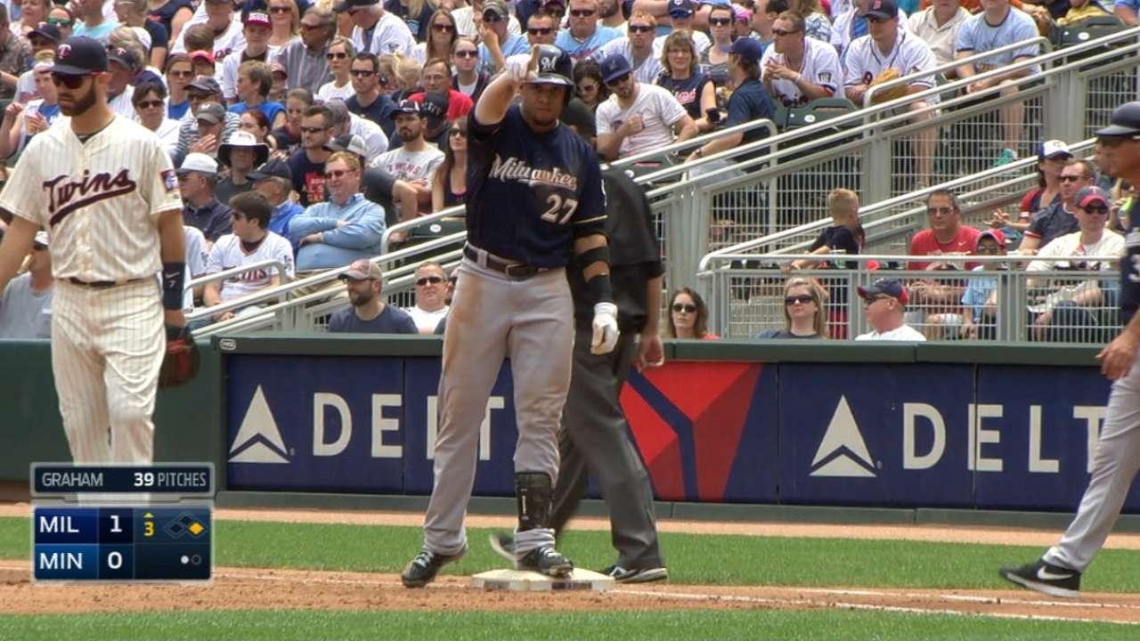 C. Gomez reaches base five times