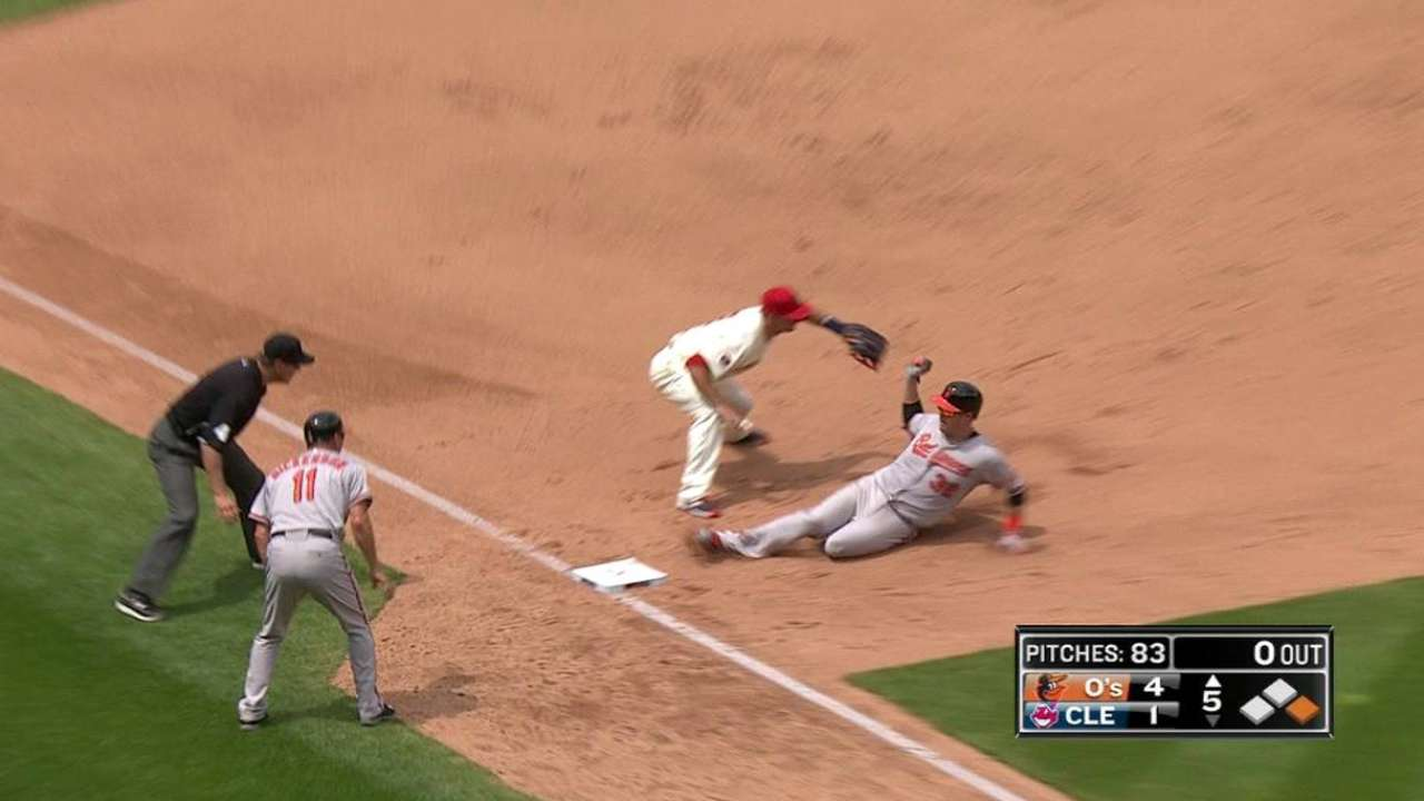 Wieters triples to lead off 5th