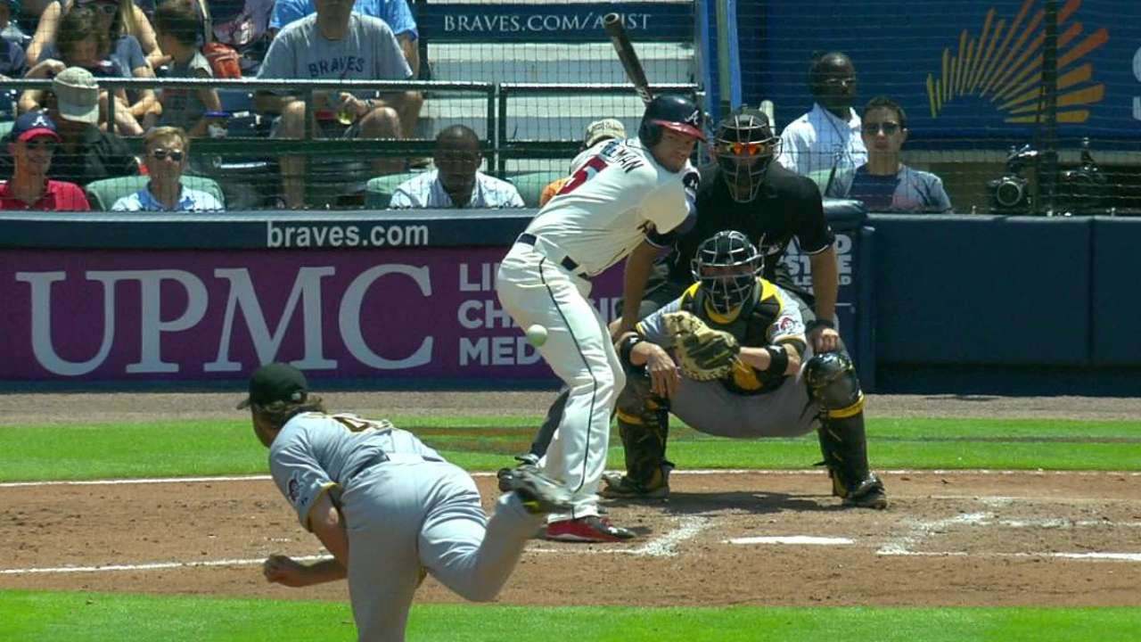 Freeman hit by a pitch from Cole