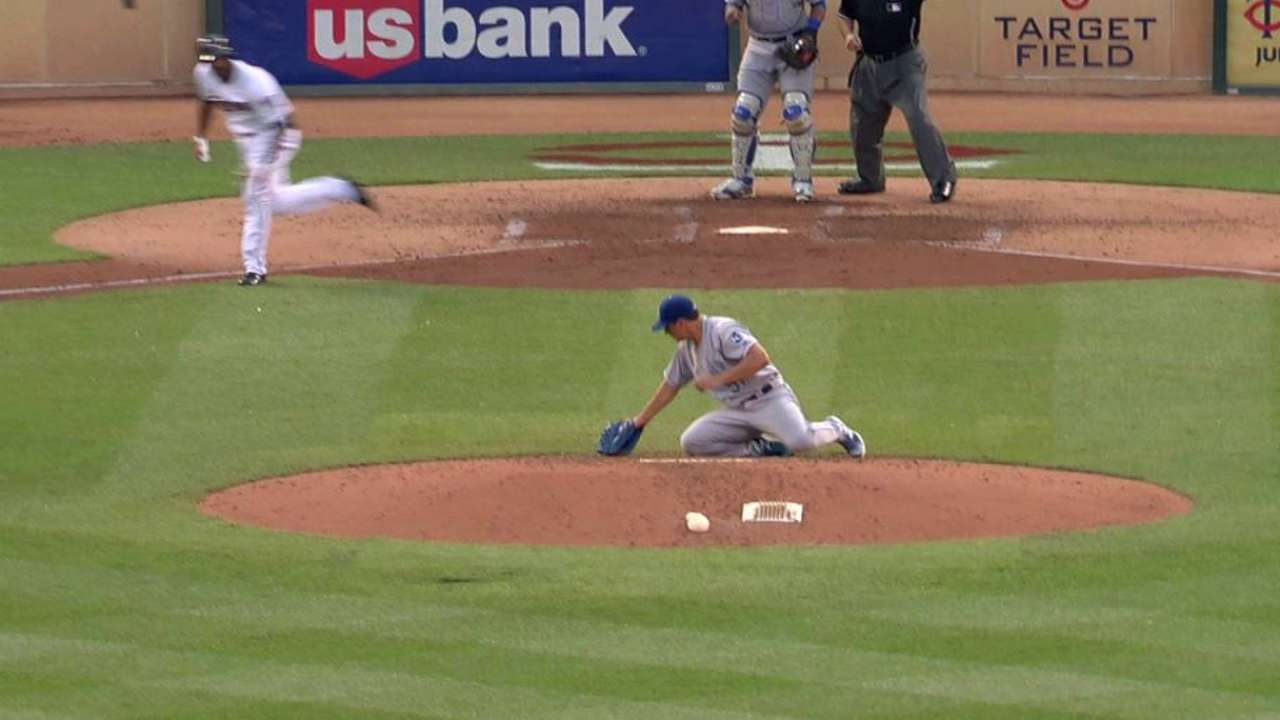 Vargas hit by liner, gets out