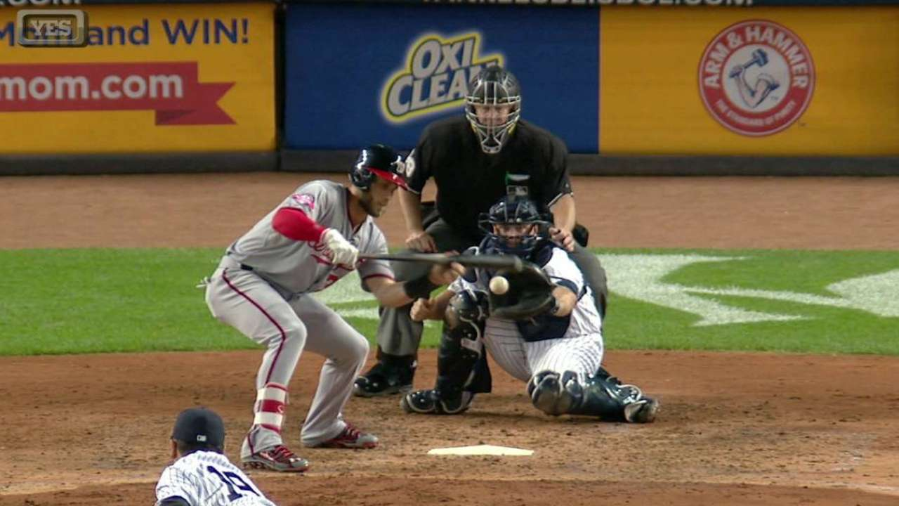 Tanaka K's Harper on foul bunt