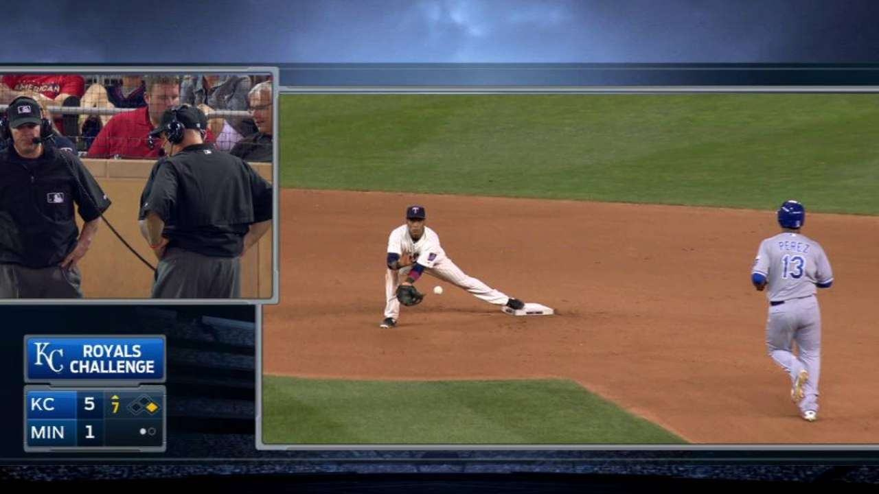 Perez is safe at second base
