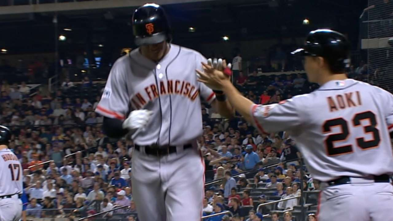 Giants' three homers sink Harvey, Mets