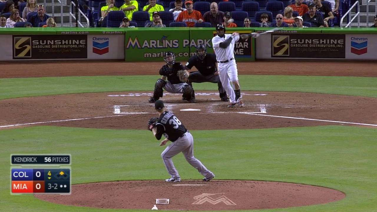 Ozuna nearly hits for cycle -- in one at-bat