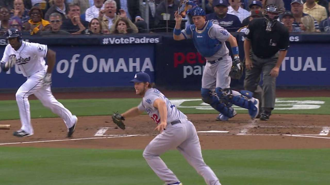 Kershaw hit by a liner, stays in