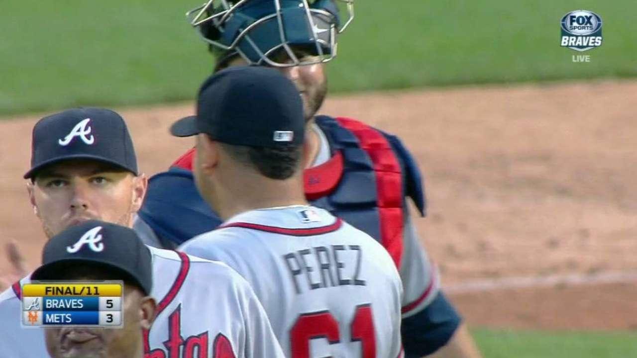 Perez earns 1st save, will still start Monday