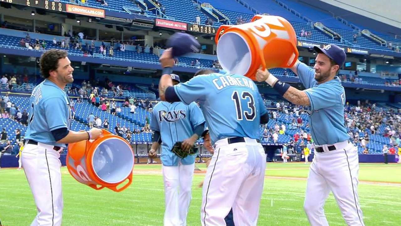 Cabrera on home run, gets shower
