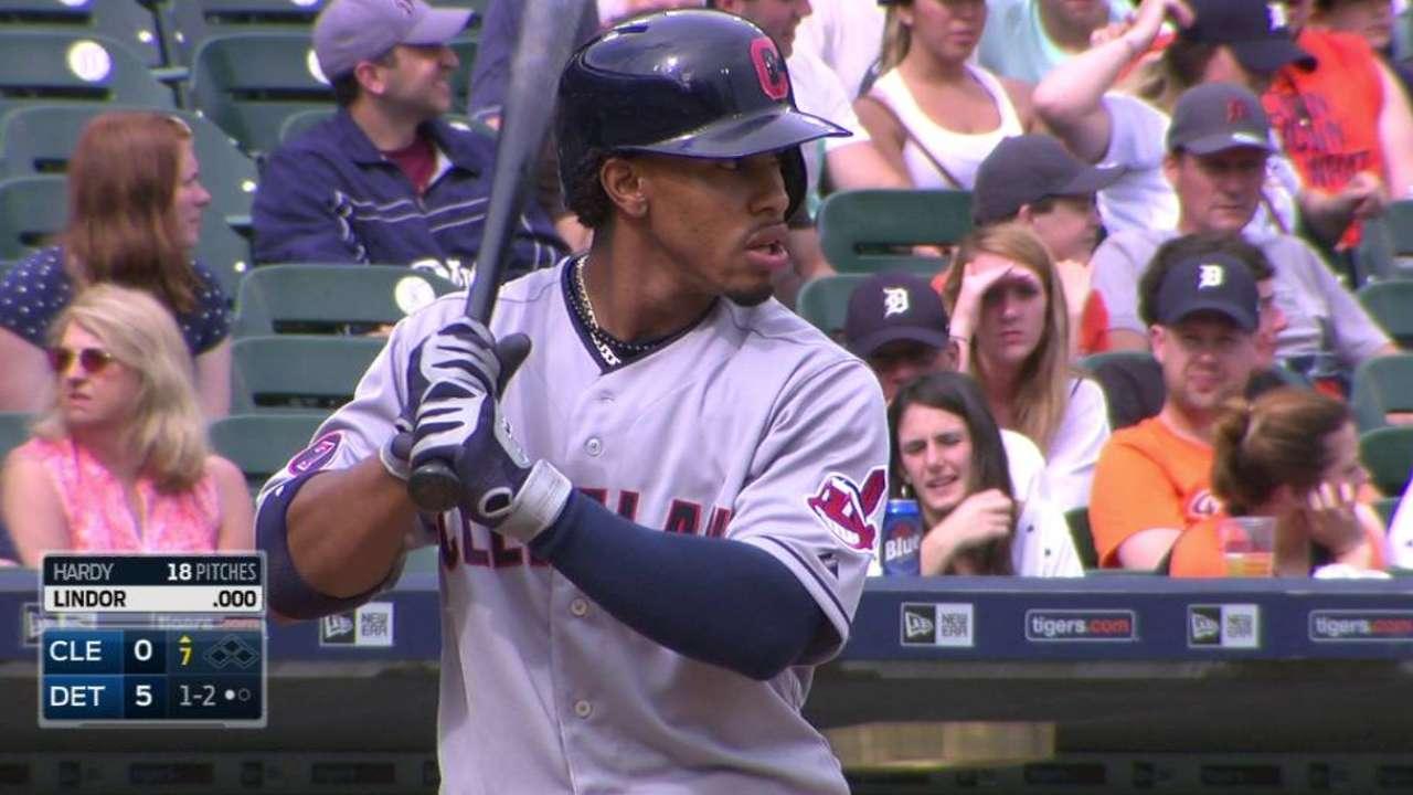 Lindor's first MLB at-bat