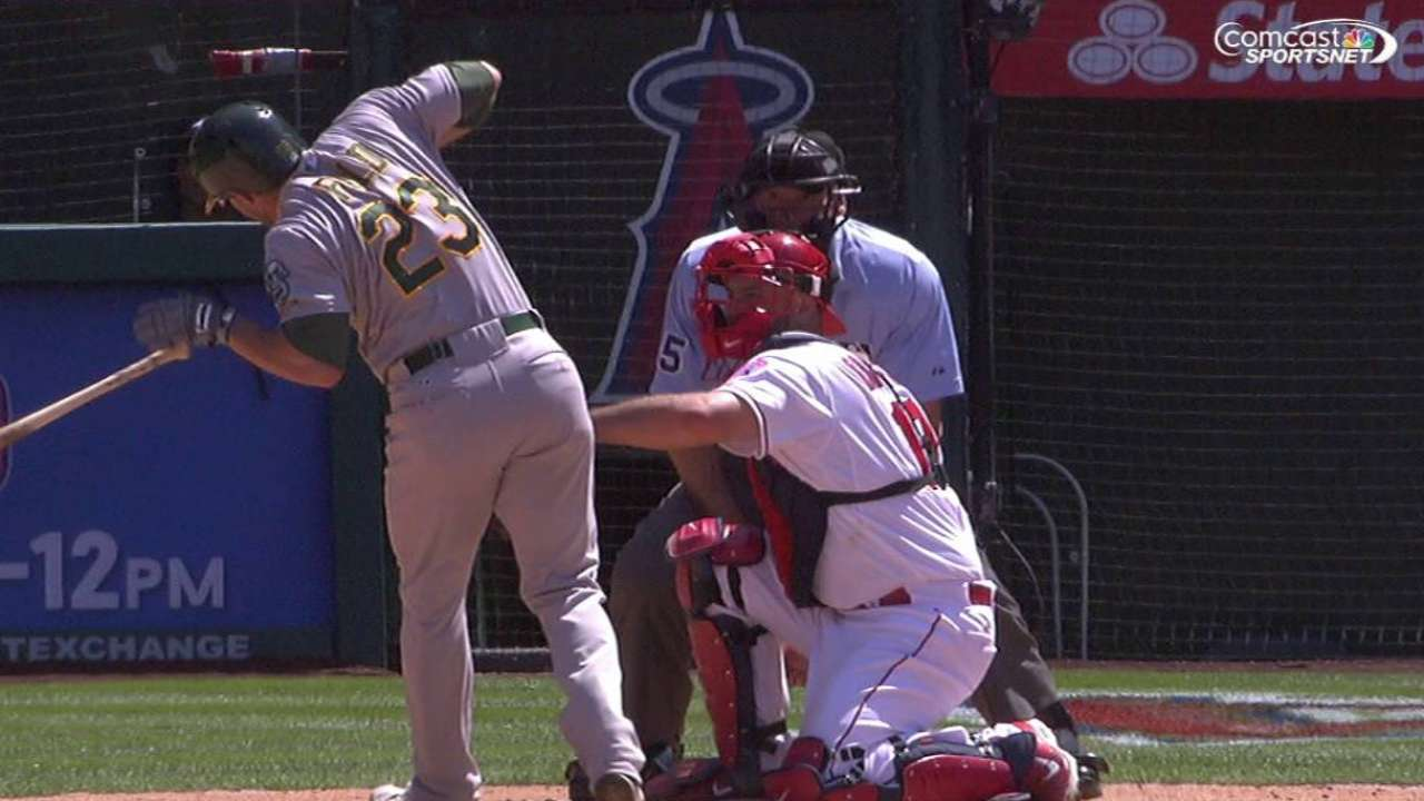 Fuld hit by a pitch, remains in