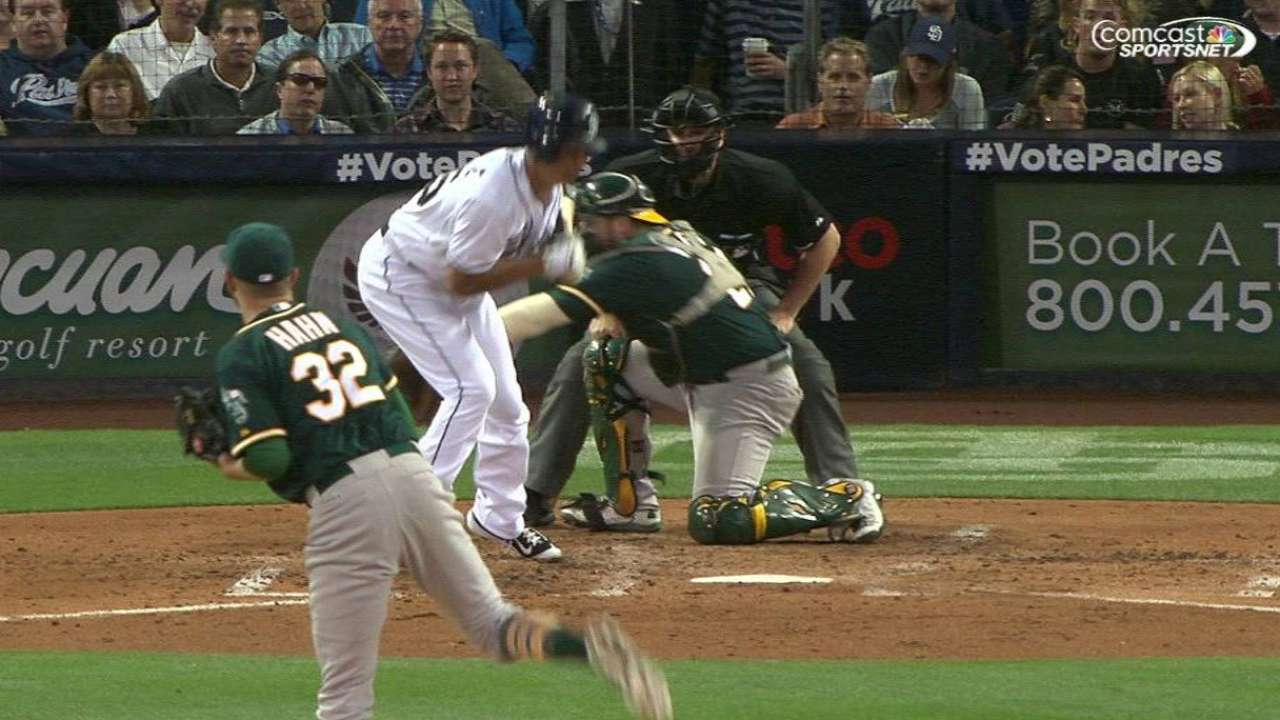 Venable not hit by a pitch