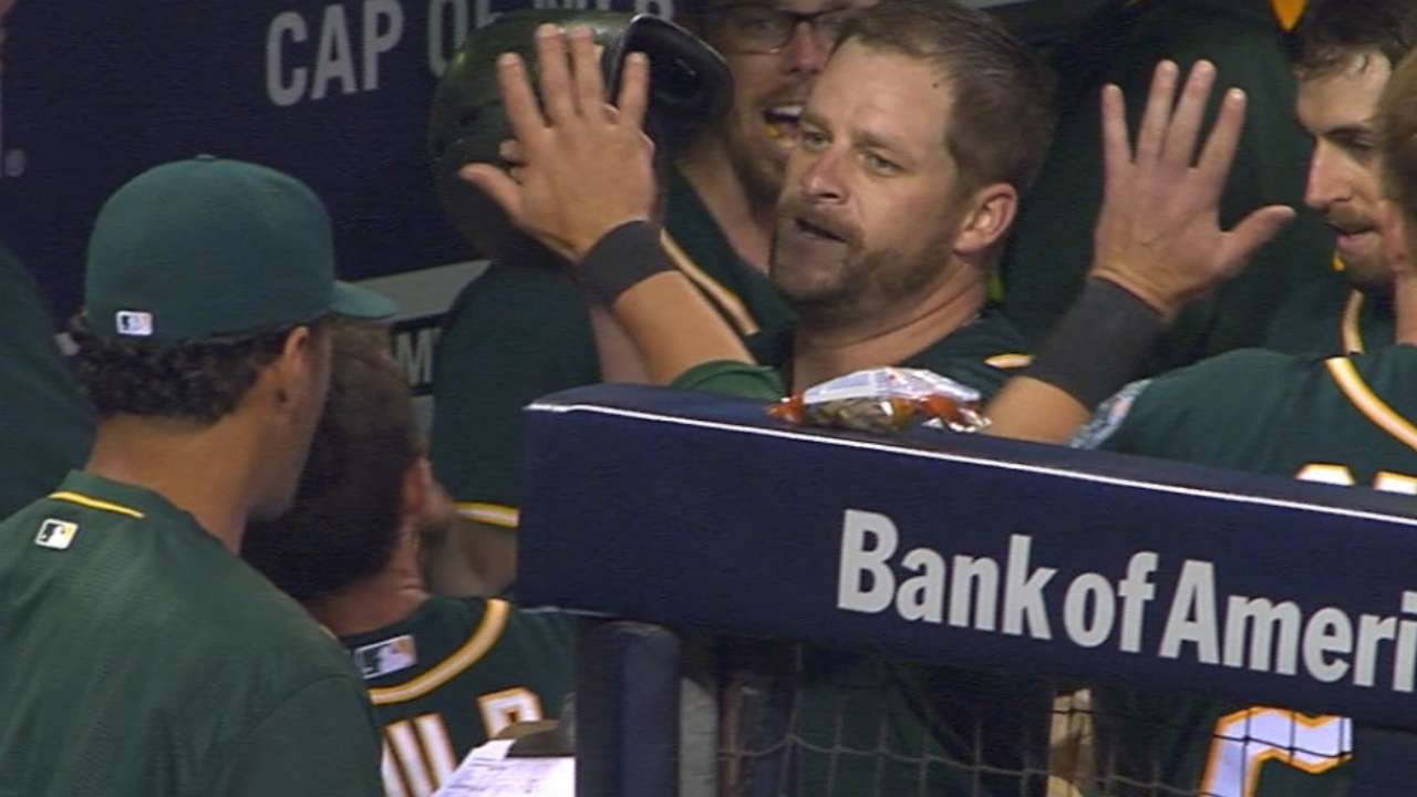 Hahn, Vogt lead A's to easy win over Padres
