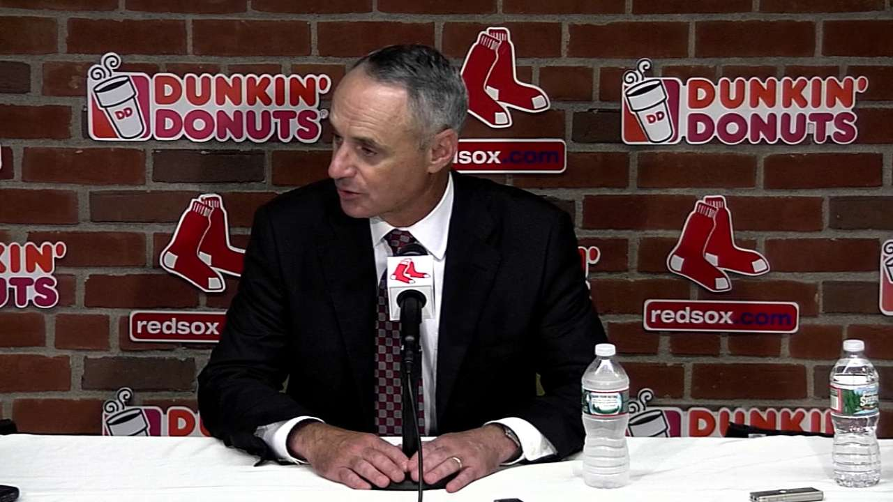 Manfred addresses several topics at Fenway