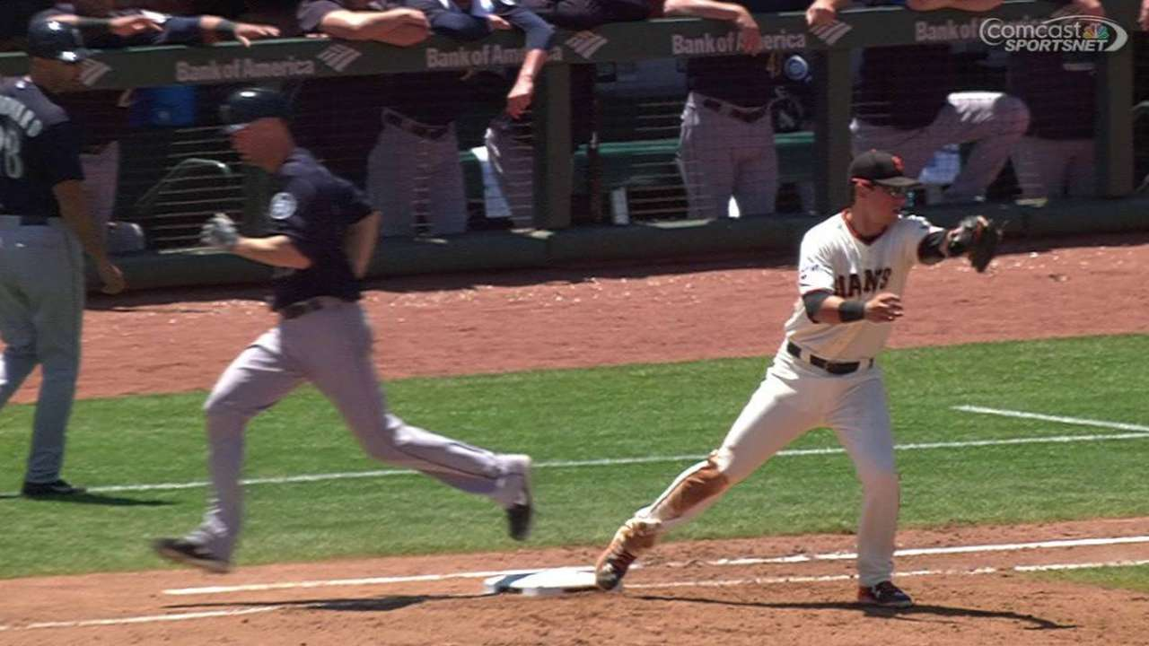 Giants get double play on review