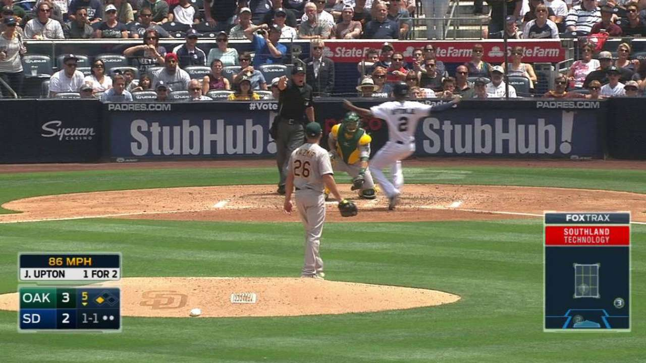 Upton Jr. scores on balk