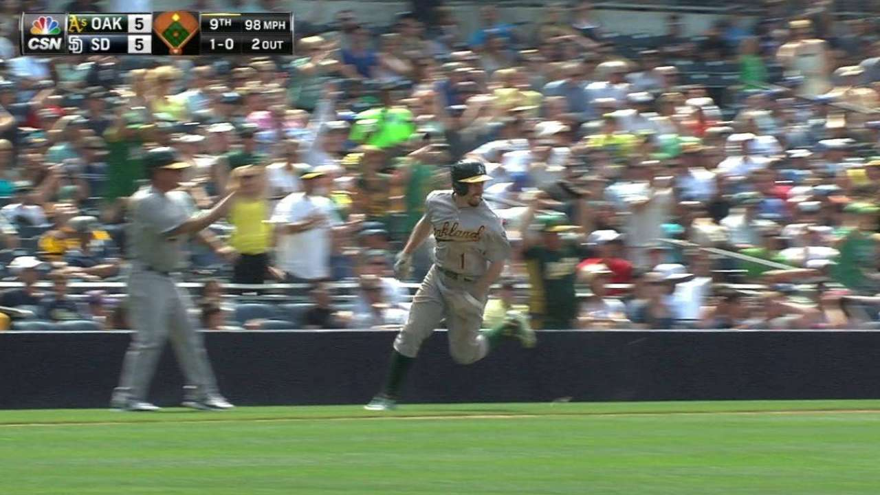 Sogard delivers A's winner in 9th to top Padres