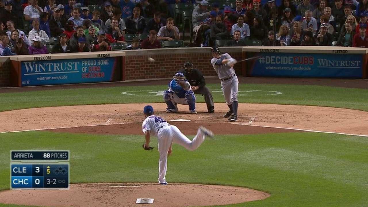 Bauer's first MLB hit
