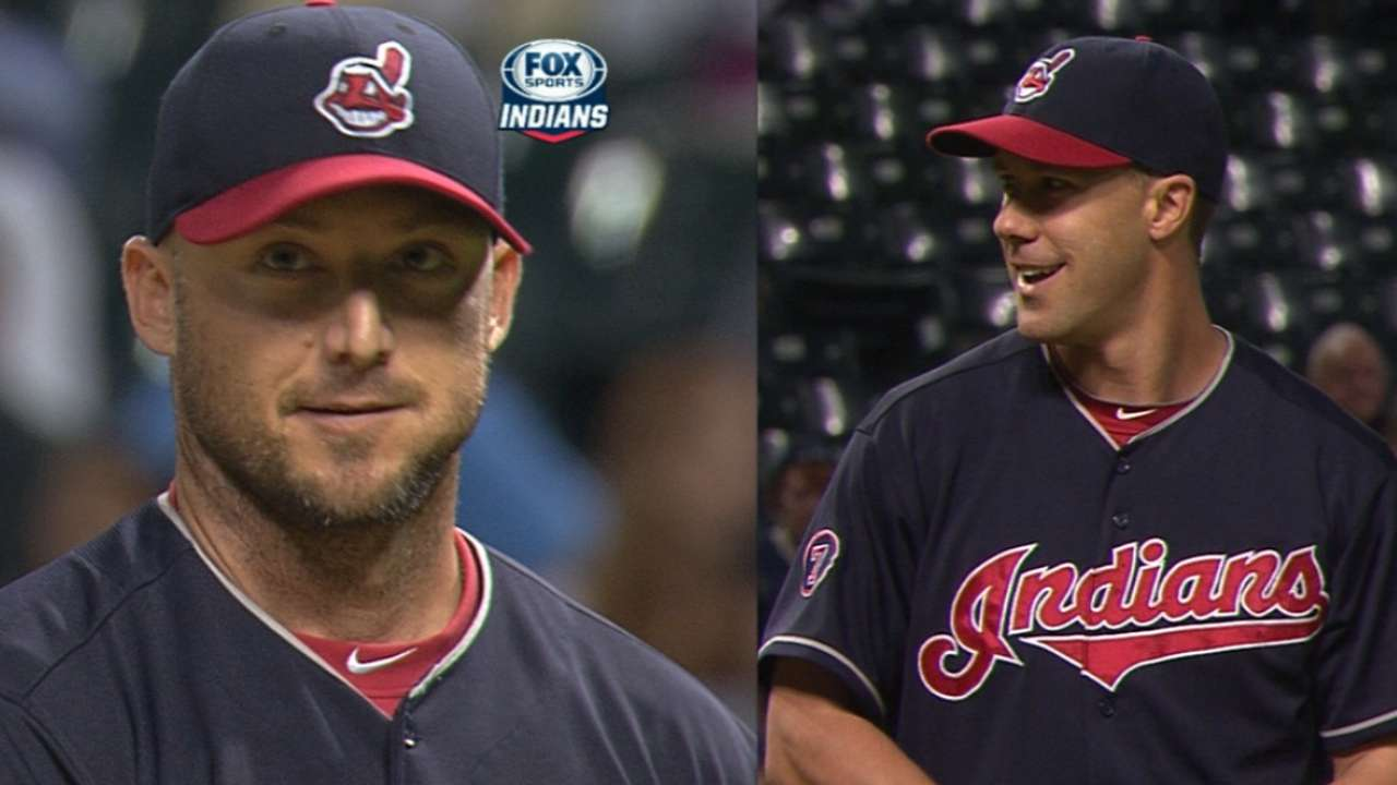 Indians turn to 2 position players to pitch 9th