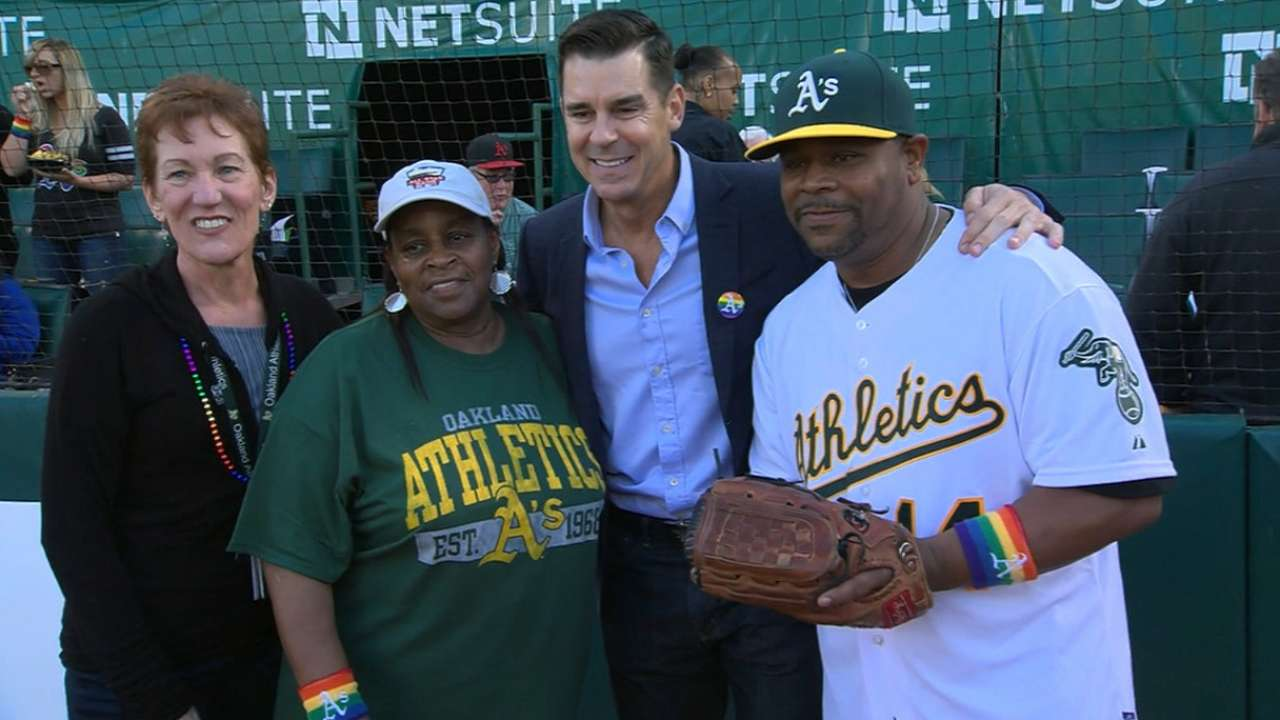 A's make history with anthem on Pride Night
