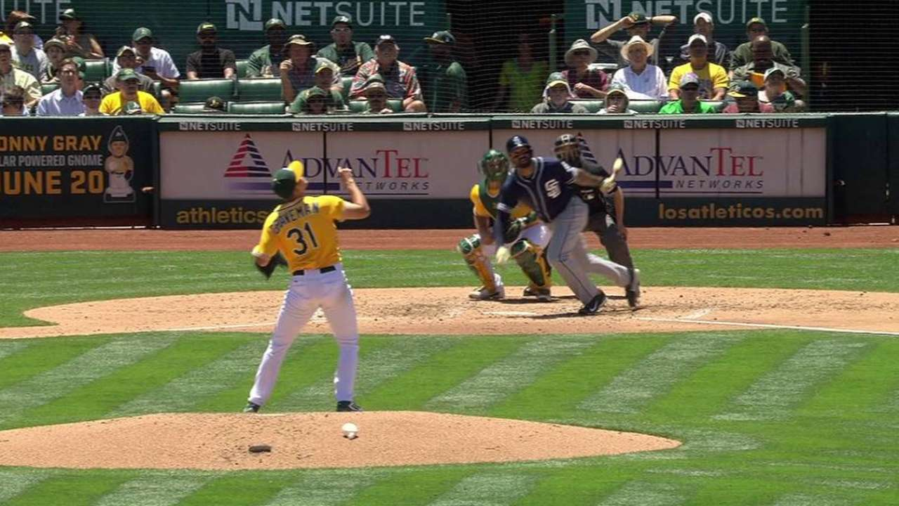 Homers power Padres to halt A's streak at 4