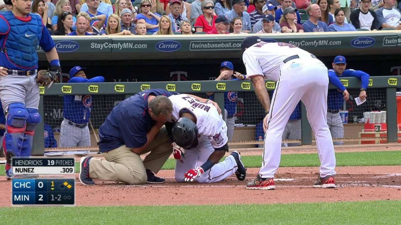 Nunez gets breather a day after hit-by-pitch