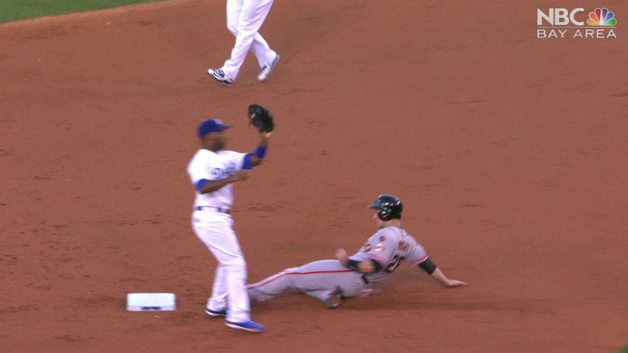 Posey steals second base
