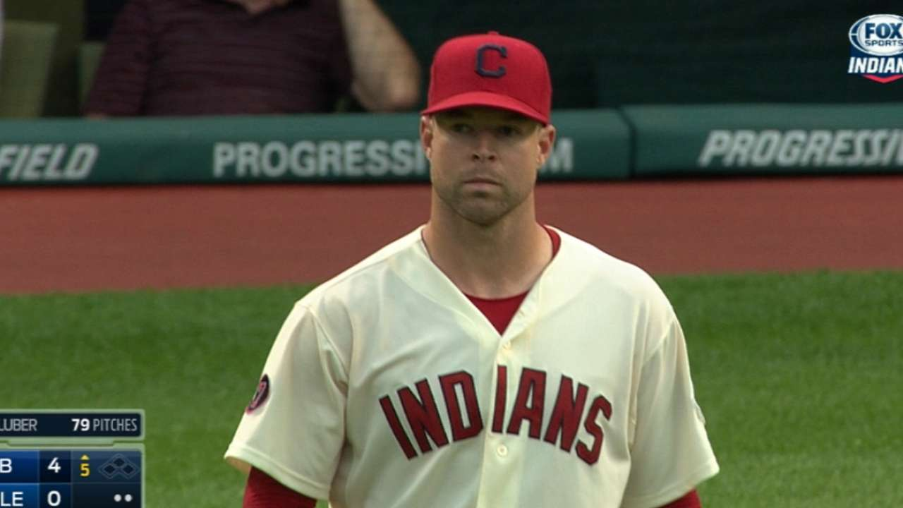 Kluber strikes out the side
