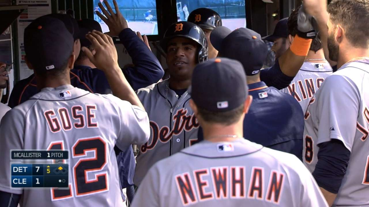 Tigers' 6-run outburst secures win over Indians