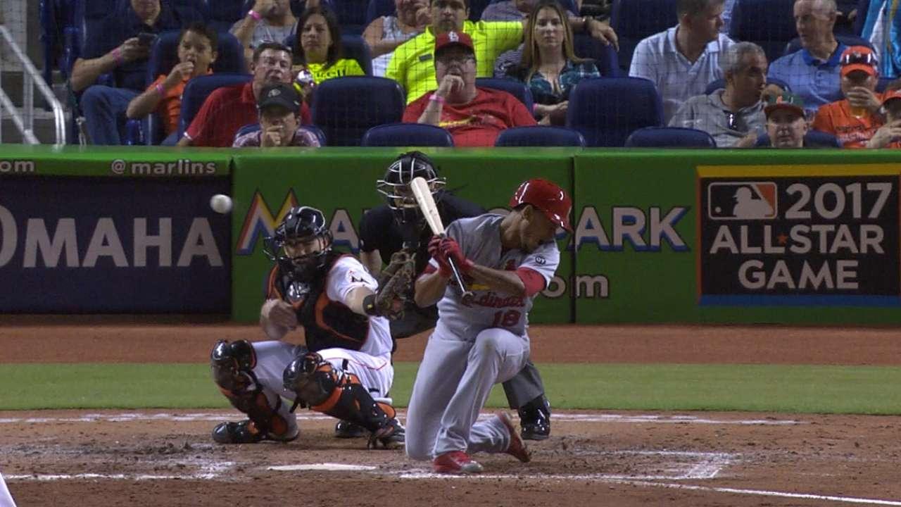 Liner off Marlins pitcher lifts Cardinals after HBPs