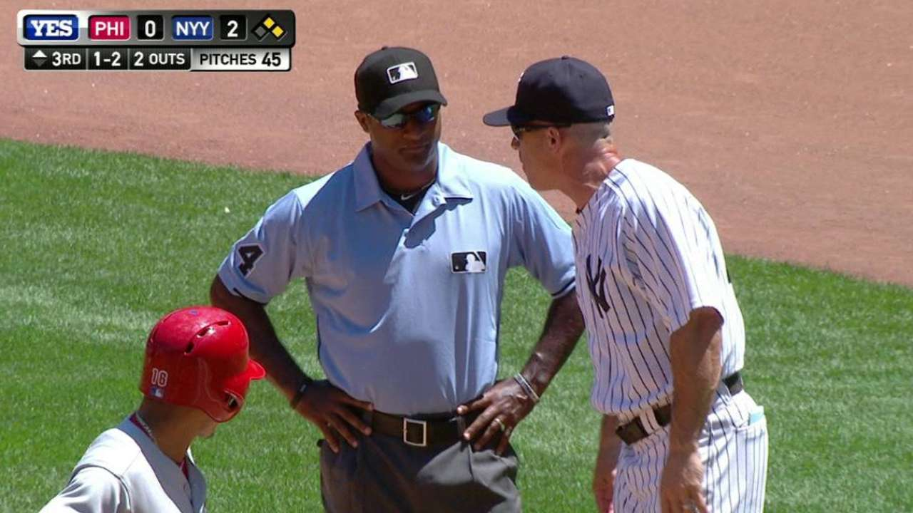 Girardi ejected after checked-swing call