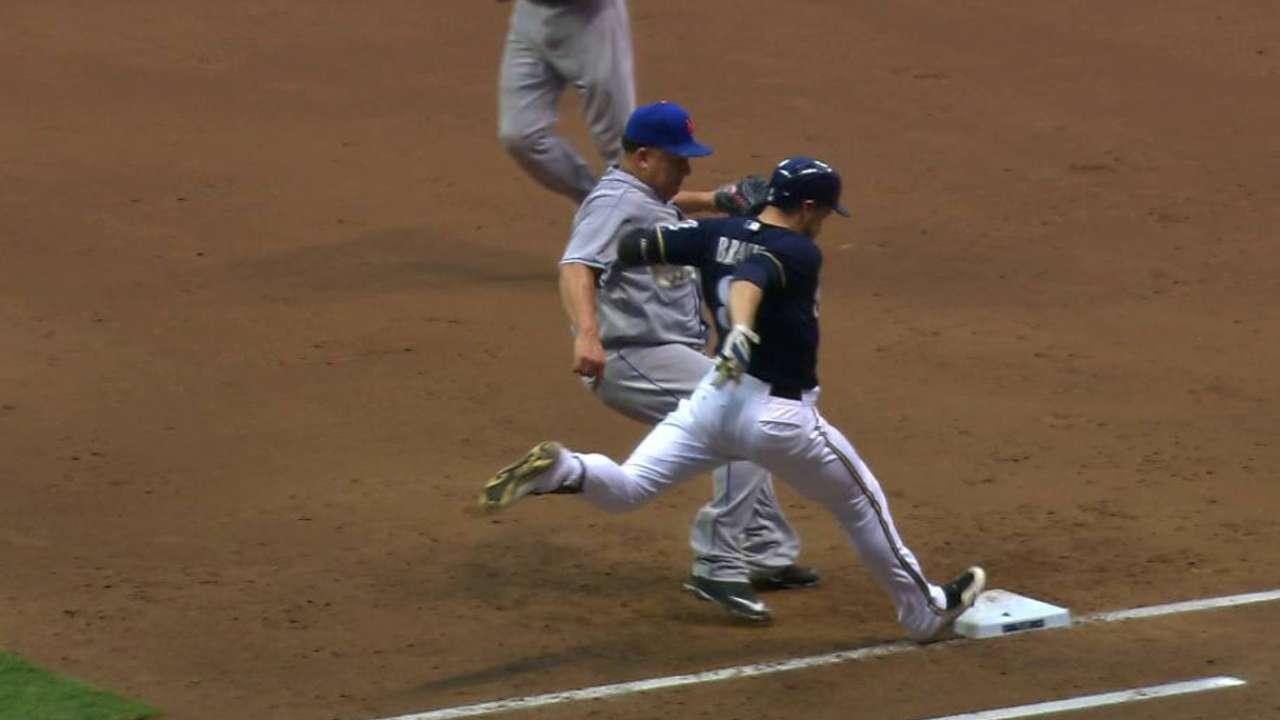 Braun beats Colon to first base
