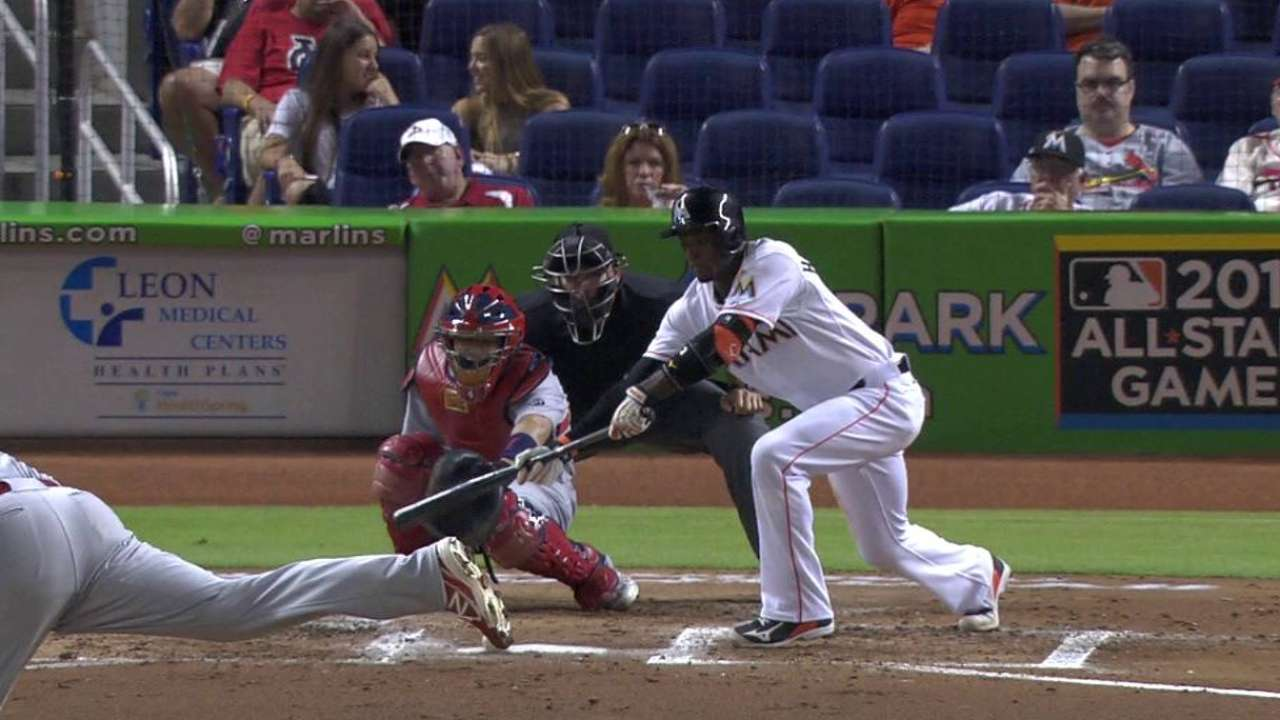 Hechavarria legs out bunt