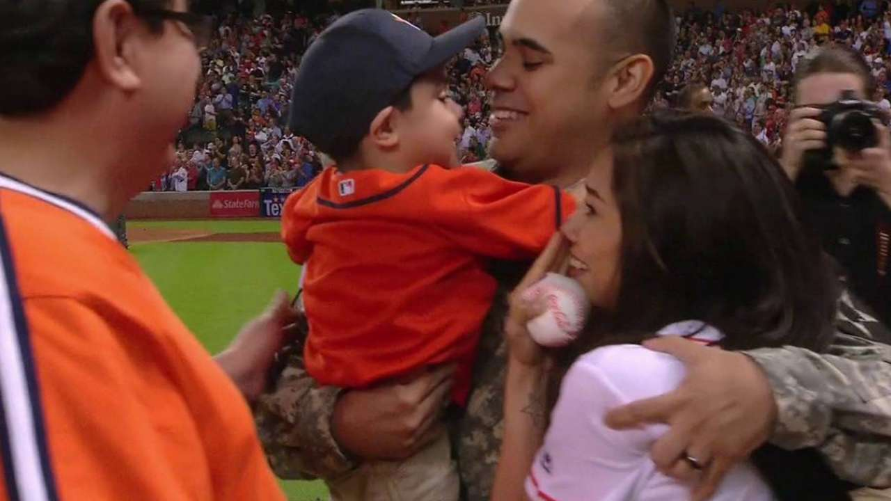 Sgt. Reyna surprises family at Astros game