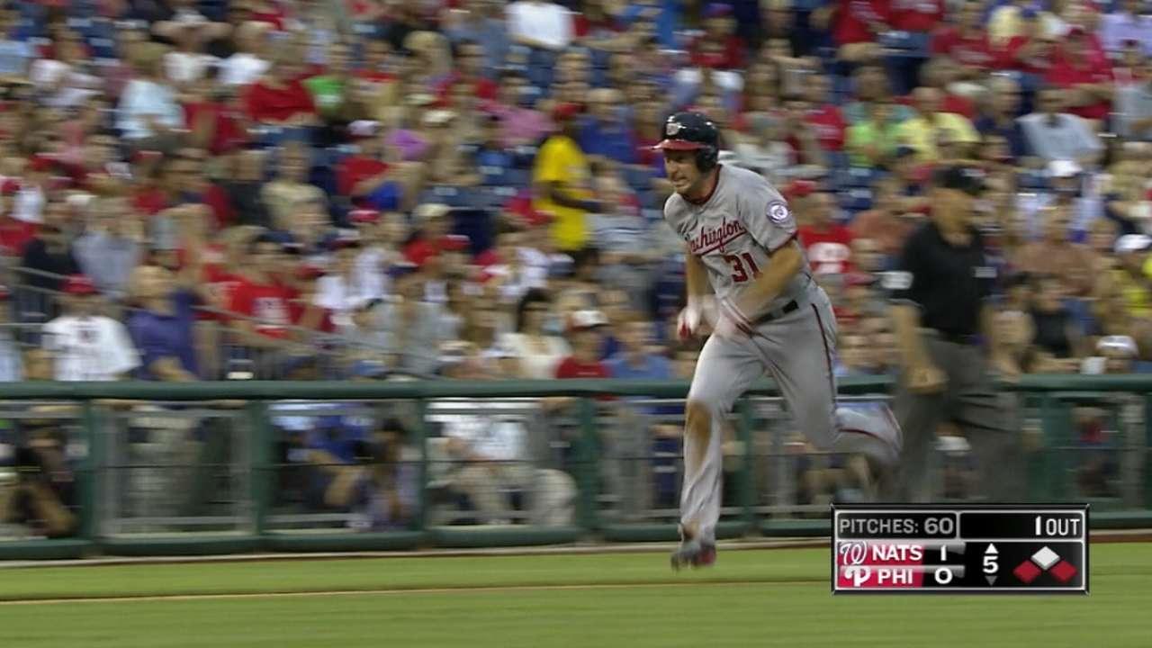 Scherzer hits, runs the bases