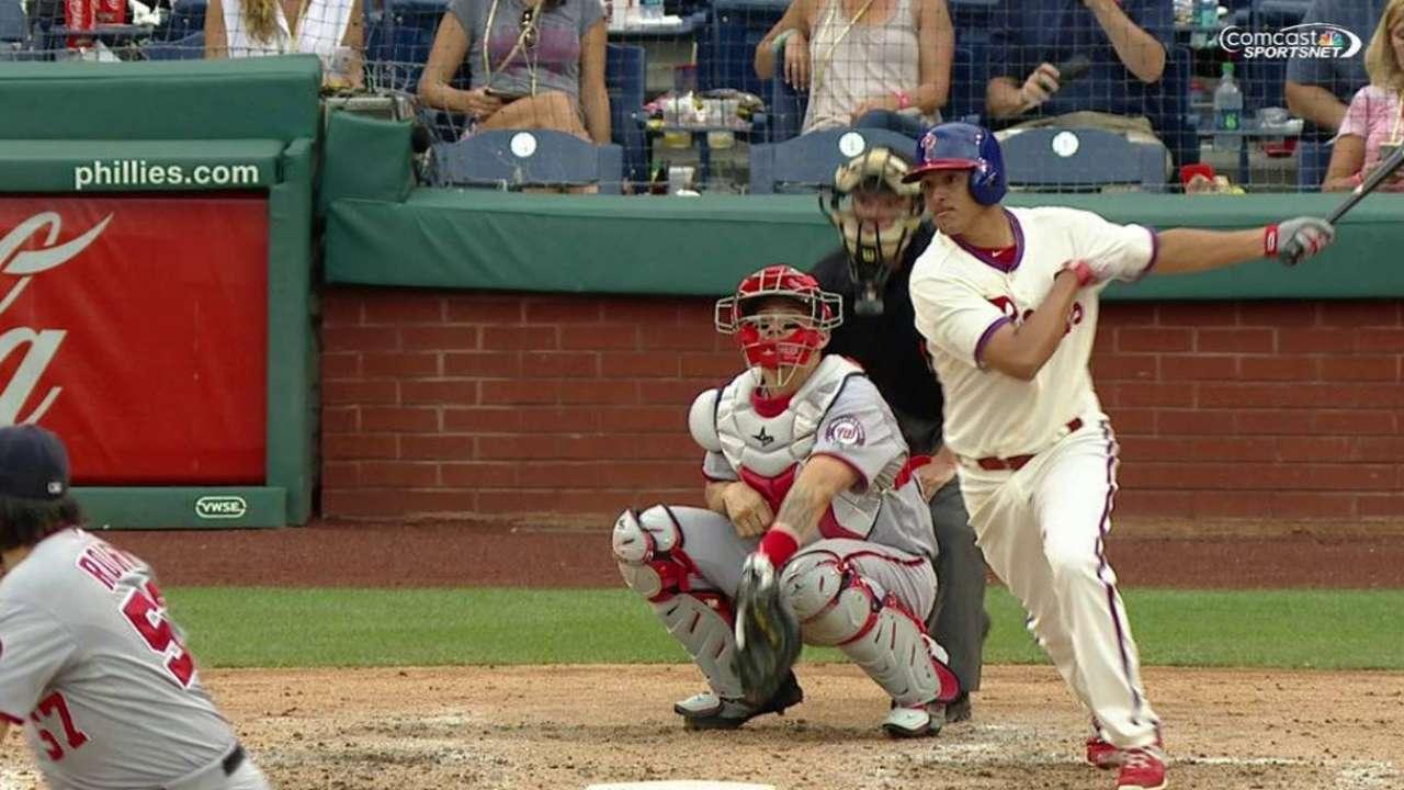 Gonzalez's first career hit