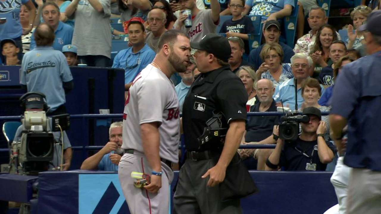 Napoli ejected after arguing strike three