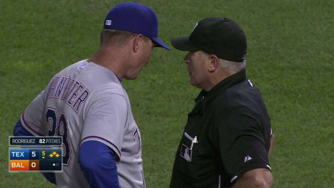 Rodriguez argues with ump