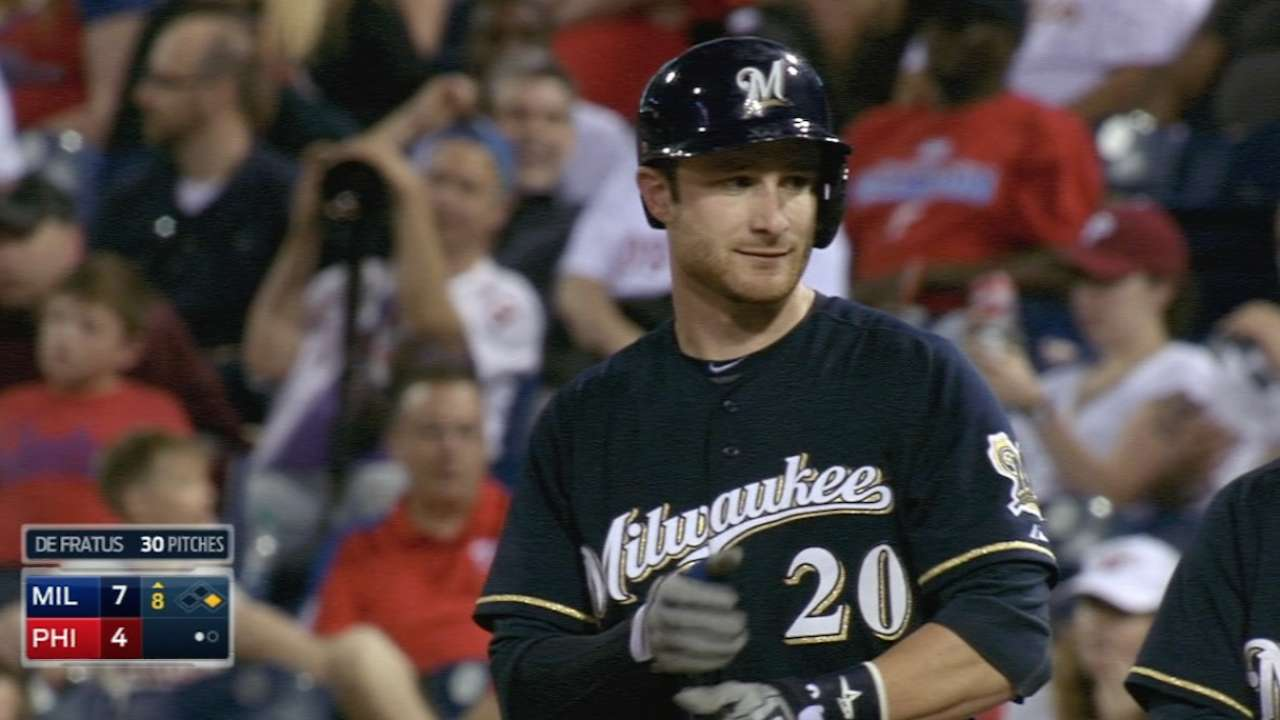 Lucroy does it all in four-hit game vs. Phillies