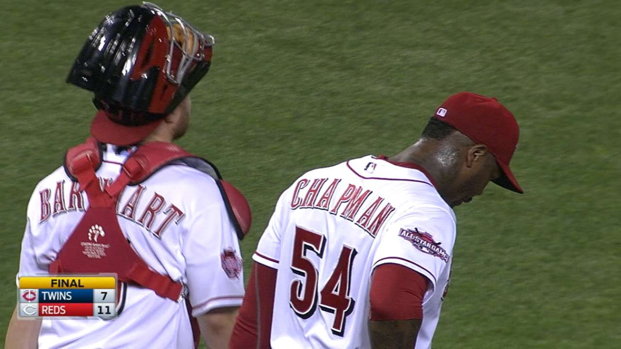 Chapman strikes out the side