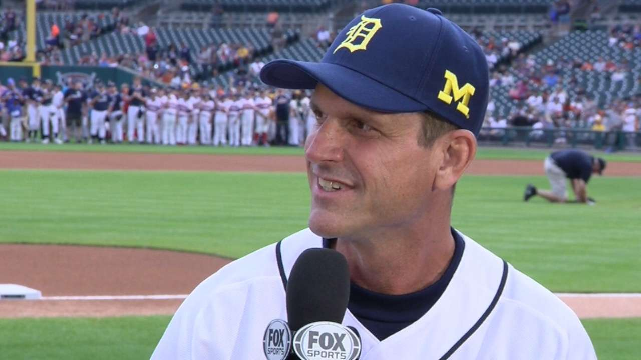 Image result for jim harbaugh detroit tigers opening pitch