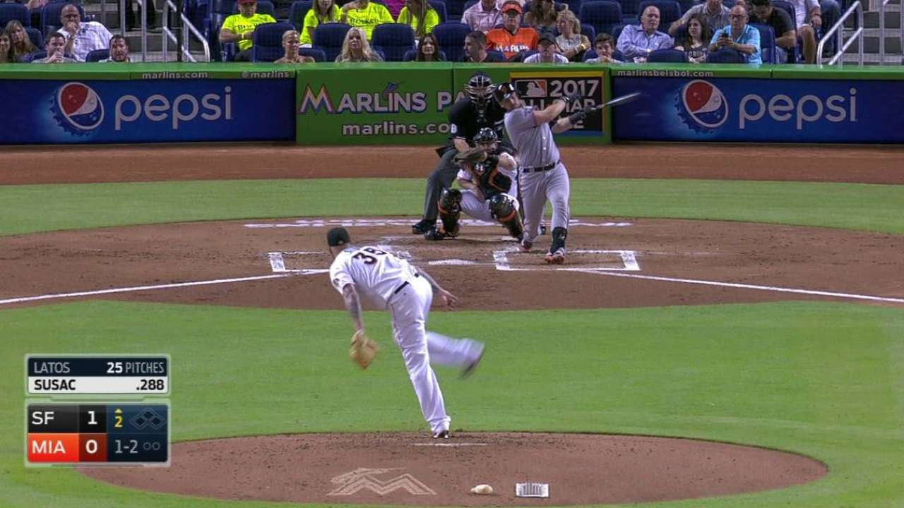 Latos keeps fighting for Marlins with solid start