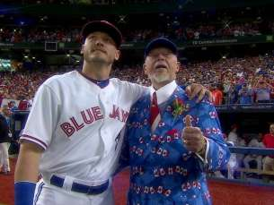 BOS@TOR: Don Cherry throws out the first pitch