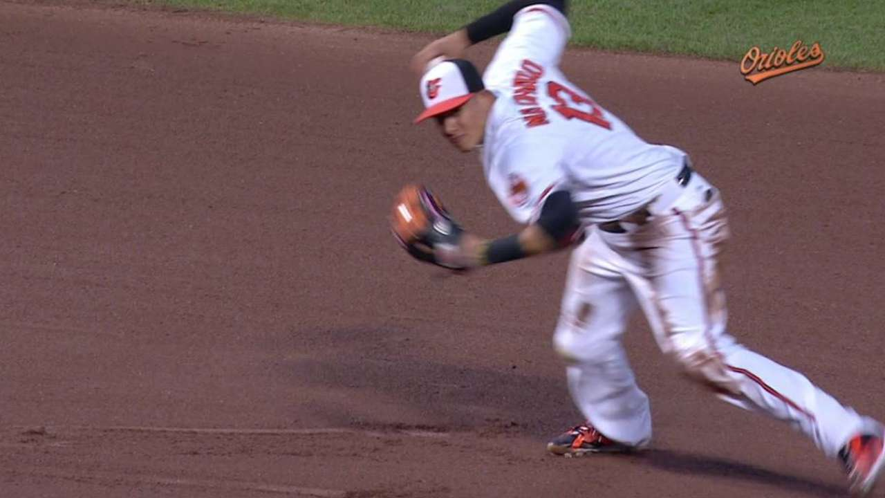 Machado wows at 'shortstop' with O's in shift
