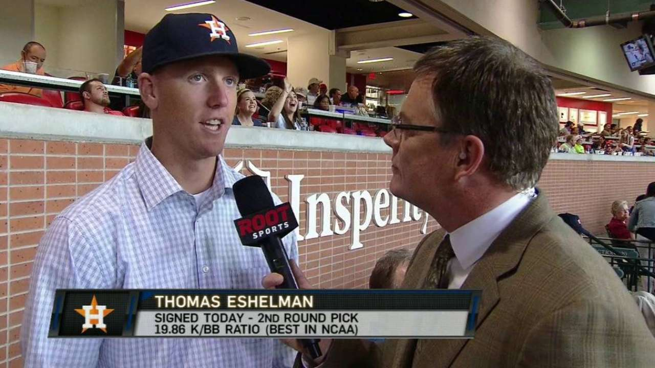 Astros sign second-rounder Eshelman