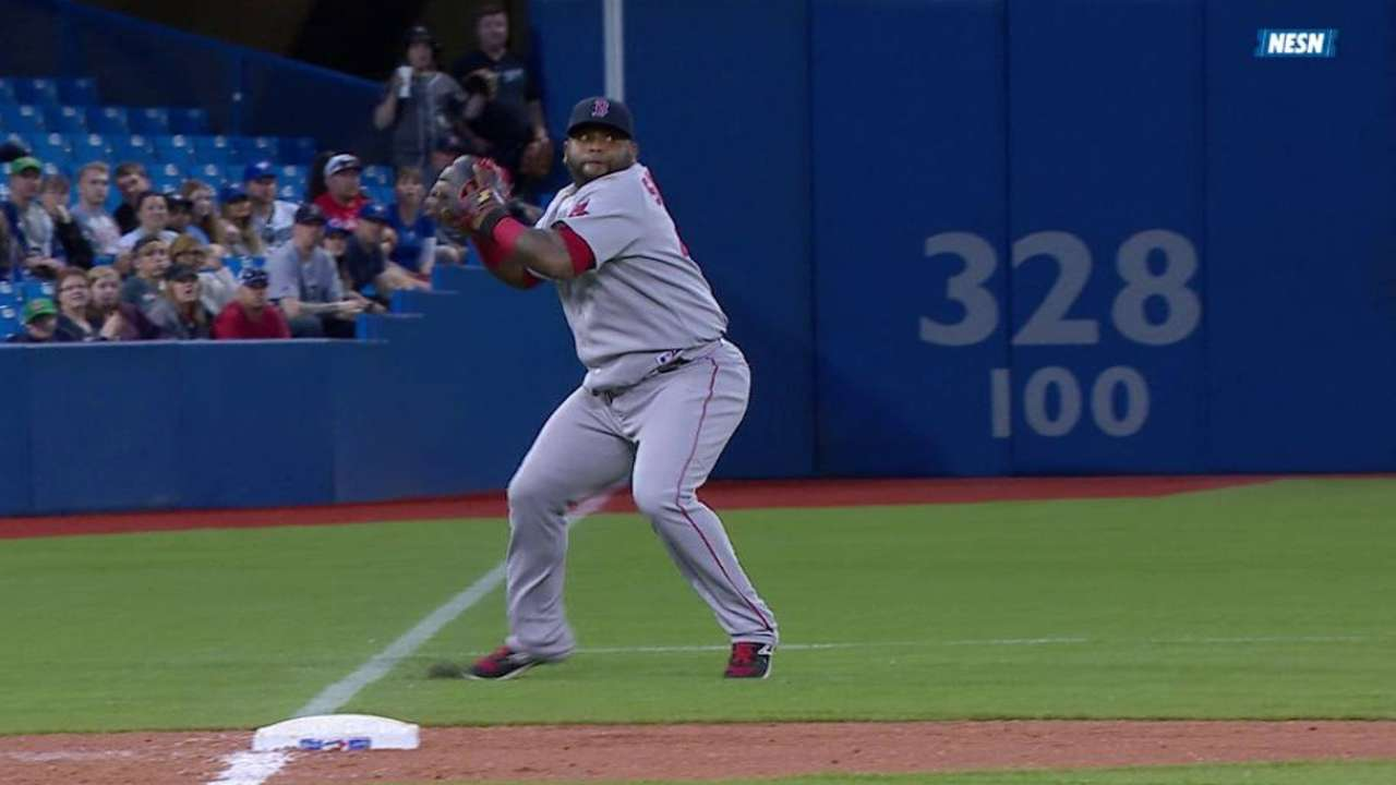 Sandoval makes a backhanded stop