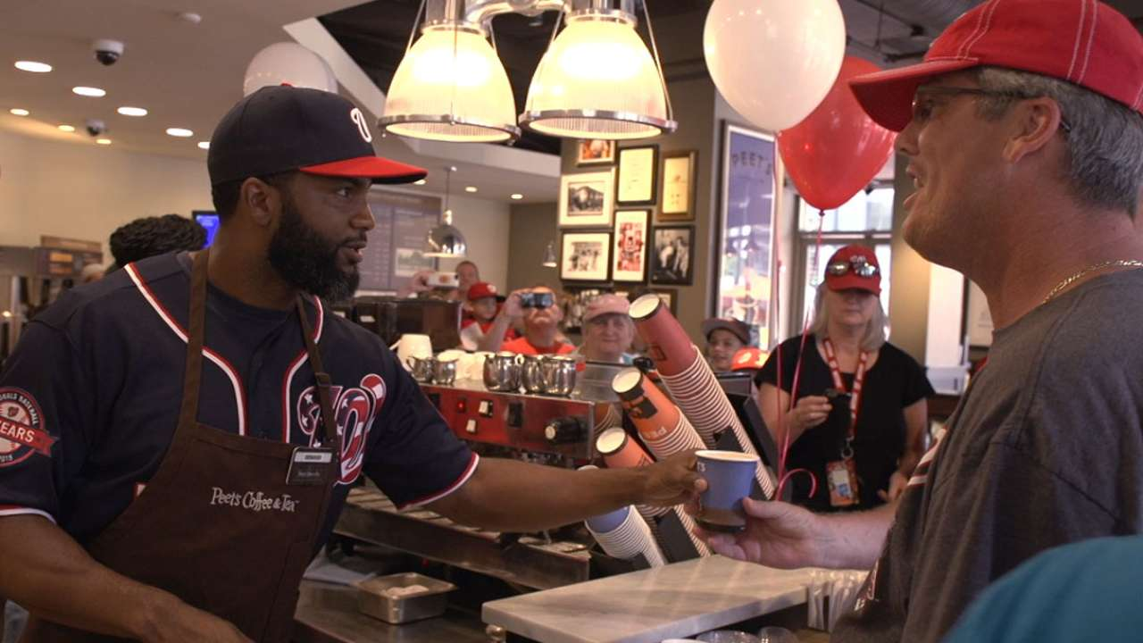 Span serves coffee to raise funds for his foundation