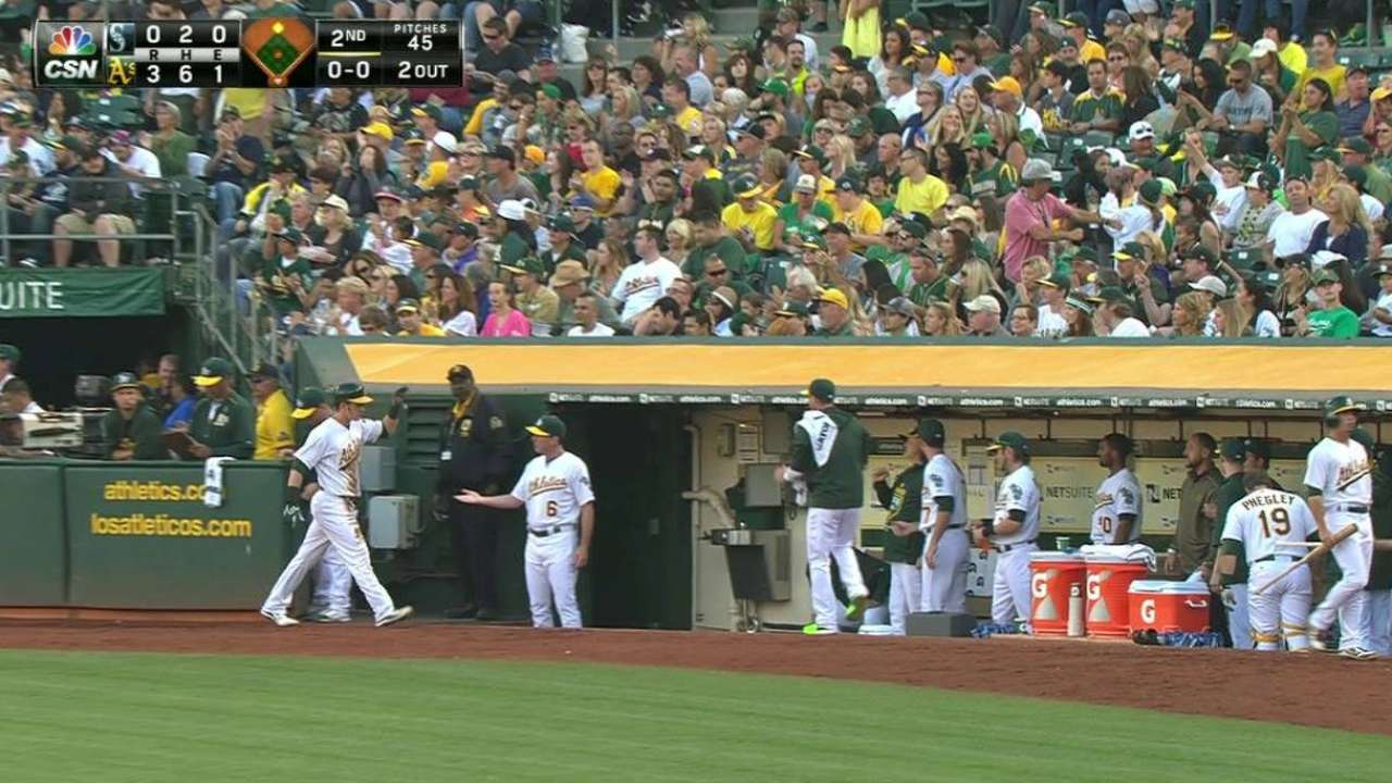 Mariners' bats too much for A's to overcome